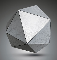 Polygonal metallic dimensional abstract object vector