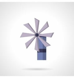 Purple wind turbine flat design icon vector image