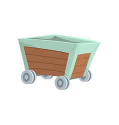 Retro wooden wagon mining industry concept vector