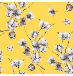 Seamless pattern with twigs and cotton flowers vector