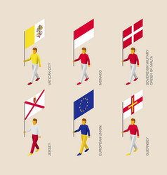 Set of 3d isometric people with flags of europe vector