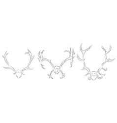 Set of contour drawing of different deer antlers vector