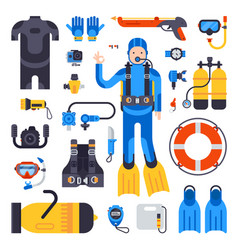 Set of flat elements for spearfishing scuba diving vector