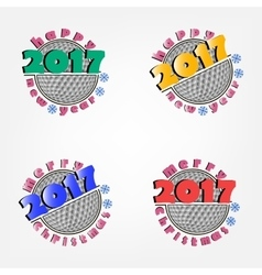 Set of golf and new year 2017 vector