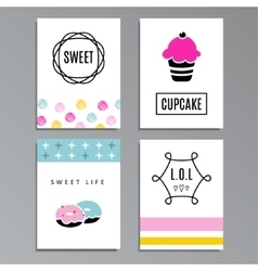 Set of greeting or journaling cards with cupcakes vector