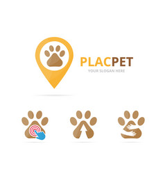 Set of paw logo combination pet and gps locator vector