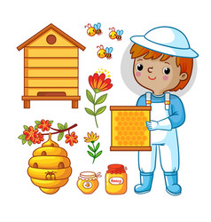 Set with bee apiary and boy vector