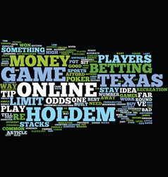 Texas holdem online game tips text background vector