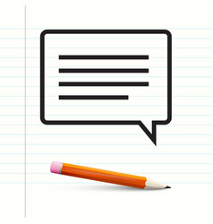 Text message on notebook paper with pencil vector