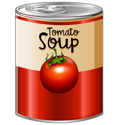 Tomato soup in aluminum can vector