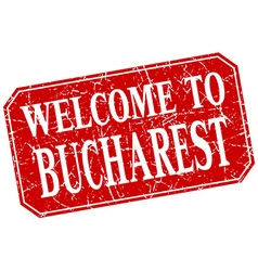 Welcome to bucharest red square grunge stamp vector
