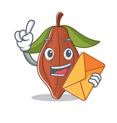 With envelope cacao bean character cartoon vector
