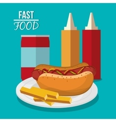Hot dog french fries and fast food design vector