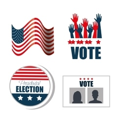 Set concept election presidential isolated vector