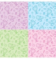 Christmas hand drawn patterns vector