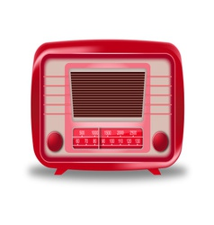 Old red radio on white background vector
