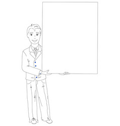 businessman holding a poster vector image