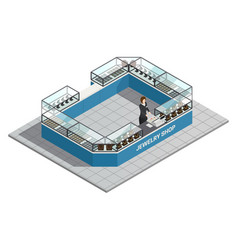 jewelry shop isometric interior with seller vector image