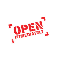 Open immediately rubber stamp vector