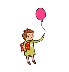Side view of boy holding balloon vector image