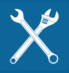 adjustable wrench and combo wrench crossed icons vector image