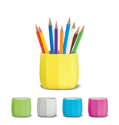 Colored pencils and pencil holder vector