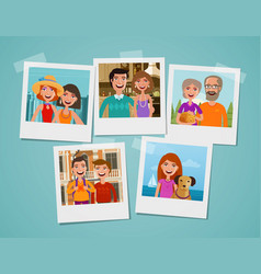 Family photo album people parents and children vector