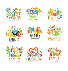 colorful family labels original design set of vector image