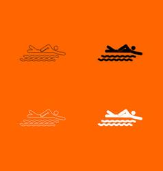 swimming person stick icon vector image