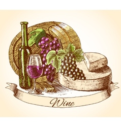 Cheese wine and bread background vector image