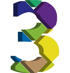 3d font number 3 vector