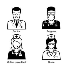 Medical staff icons doctor nurse surgeon and vector