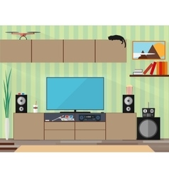Living room with furniture and long shadows flat vector