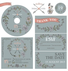 Vintage wedding template set with floral decor vector