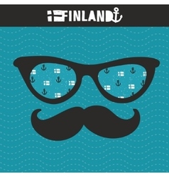 Retro glasses with reflection for hipster vector