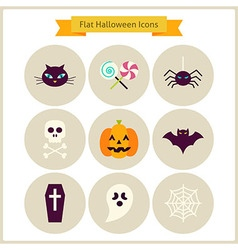 Flat halloween icons set vector