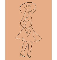 Beautiful girl in dress sketch - vector