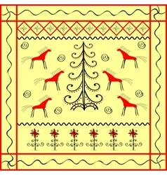 Horse and Christmas tree ornament ethnic vector image