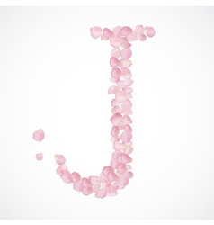 J letter alphabet from pink petals of rose vector