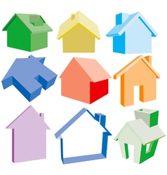 3 dimensional house icons vector