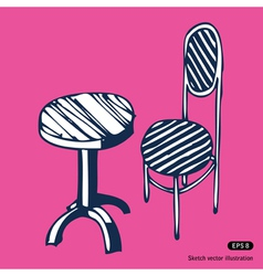 Vintage chair and table vector