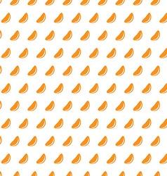 Mandarine slices on a white background seamless vector image