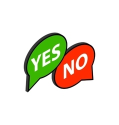 Speech bubble yes no icon isometric 3d style vector
