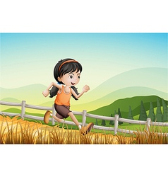 A girl running at the farm vector image vector image