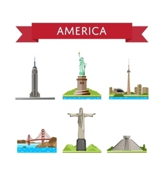 American travel set with famous attractions vector