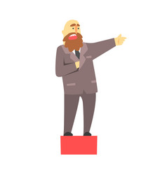 Bald businessman with a beard talking on red vector