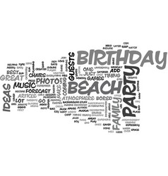 beach birthday party ideas text word cloud concept vector image