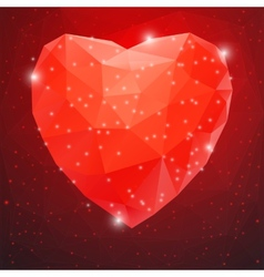 Big Red Shiny Diamond Heart vector image vector image