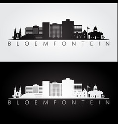 Bloemfontein skyline and landmarks silhouette vector