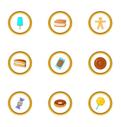 candies icons set cartoon style vector image